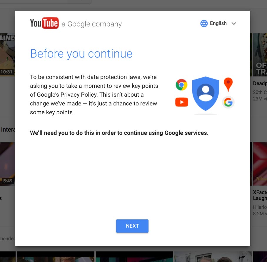 Google forcing consent for GDPR